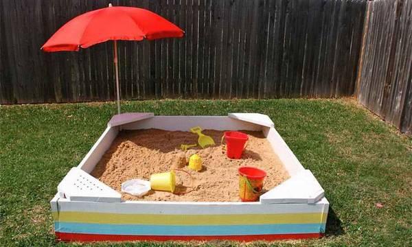 Как сделать деревянную песочницу своими руками  территория для детского творчества на даче
